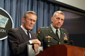 Donald Rumsfeld and General Tommy Franks.